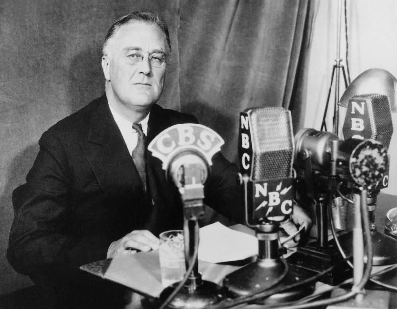 Franklin D. Roosevelt at the White House in Washington, D.C., delivering a national radio address, Sept. 30, 1934
