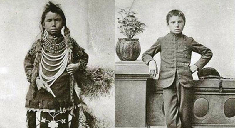Thomas Moore before and after entrance into the Regina Indian Residential School in Saskatchewan in 1873.