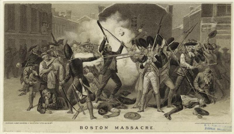 Boston Massacre print by Alonzo Chappel, NY Public Library Digital Collection