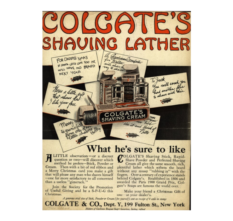 Colgate's Shaving Lather ad, 1914