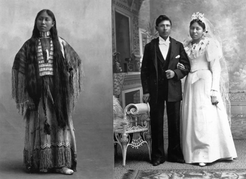 Cheyenne woman named Woxie Haury in ceremonial dress, and, in wedding portrait with husband
