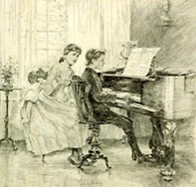 a boy playing the piano while a girl looks on