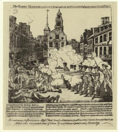 The bloody massacre perpetrated in King Street, Boston on March 5th, 1770 by a party of the 29th Regt.